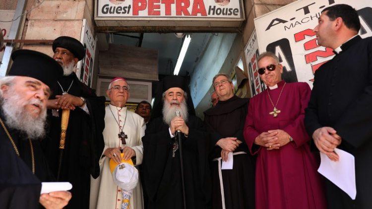 Líderes das Igrejas da Terra Santa no Hotel Petra, em Jerusalém, em 11 de julho de 2019