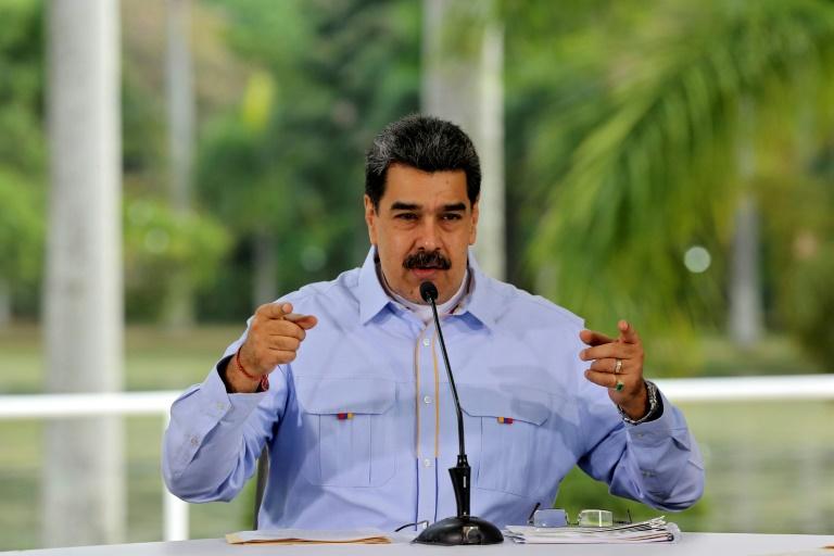 Foto divulgada pela Presidência venezuelana do presidente Nicolás Maduro, durante pronunciamento no Palácio de Miraflores, em Caracas, 17 de junho de 2020