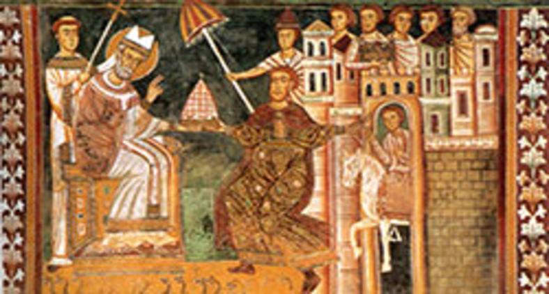 Pintura que retrata o momento em que Constantino concede a tiara imperial a papa Silvestre I, símbolo da 'doação de Constantino' - (Século XIII). (Domínio público)