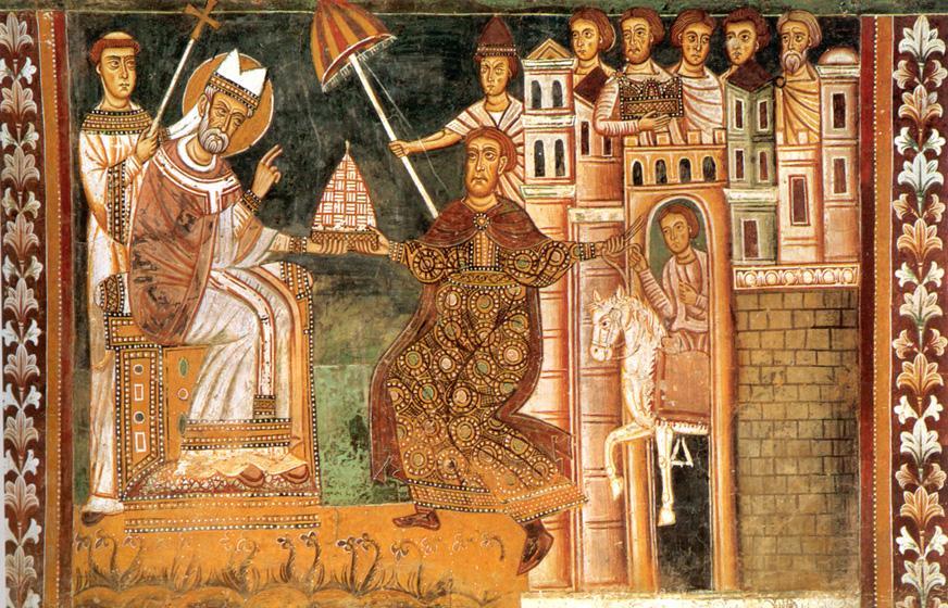 Pintura que retrata o momento em que Constantino concede a tiara imperial a papa Silvestre I, símbolo da 'doação de Constantino' - (Século XIII).