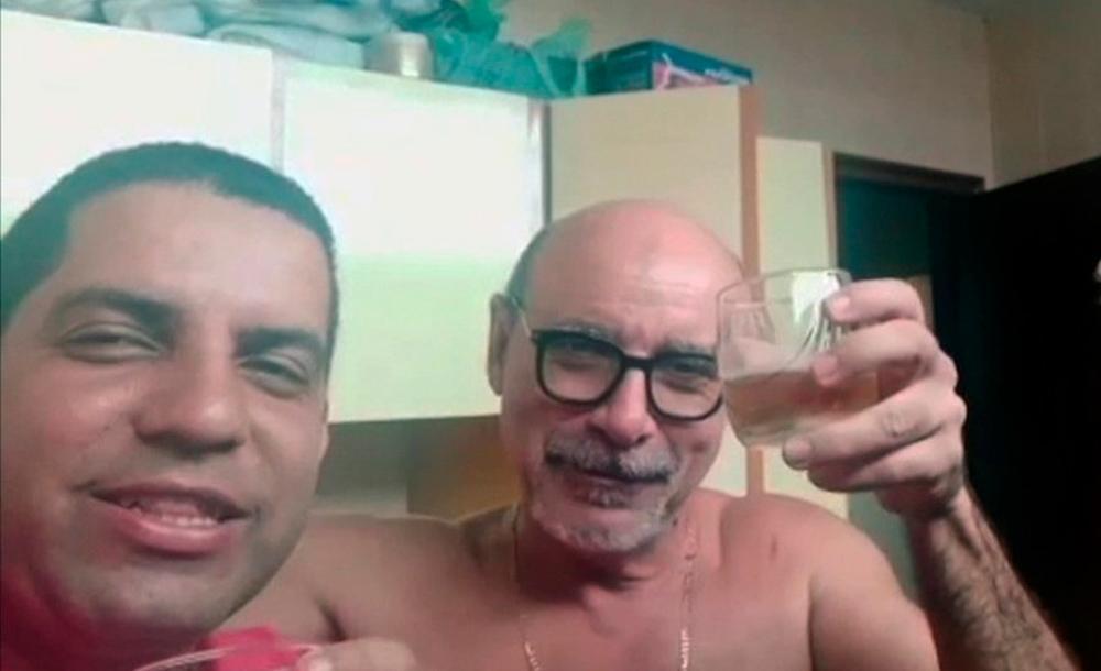 Daniel Carvalho e Fabrício Queiroz celebrando a passagem do ano