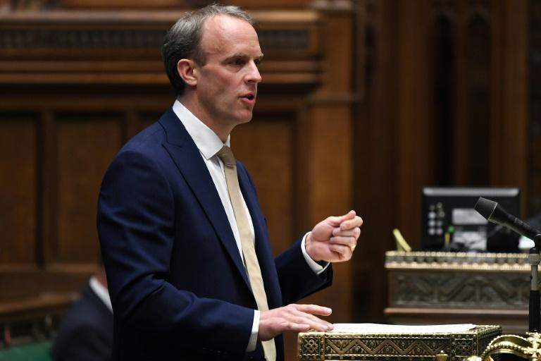 O ministro britânico das Relações Exteriores, Dominic Raab, na Casa dos Comuns, em Londres