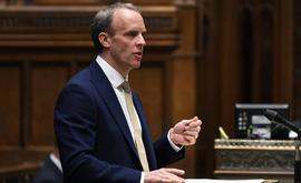 O ministro britânico das Relações Exteriores, Dominic Raab, na Casa dos Comuns, em Londres (UK PARLIAMENT/AFP)