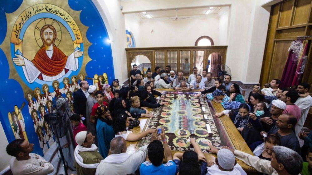 Em 15 de maio de 2018, mártires cristãos coptas receberam um funeral digno na Igreja dos Mártires em Al-Our, Província de Minya, Egito