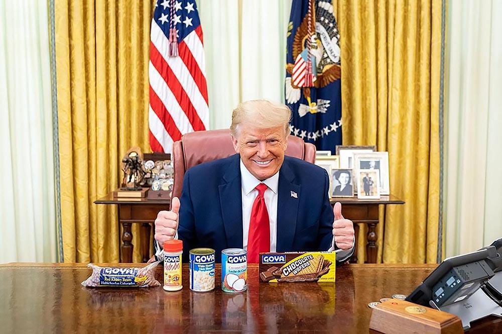 Foto postada no Instagram de Trump mostra presidentes com produtos da marca Goya