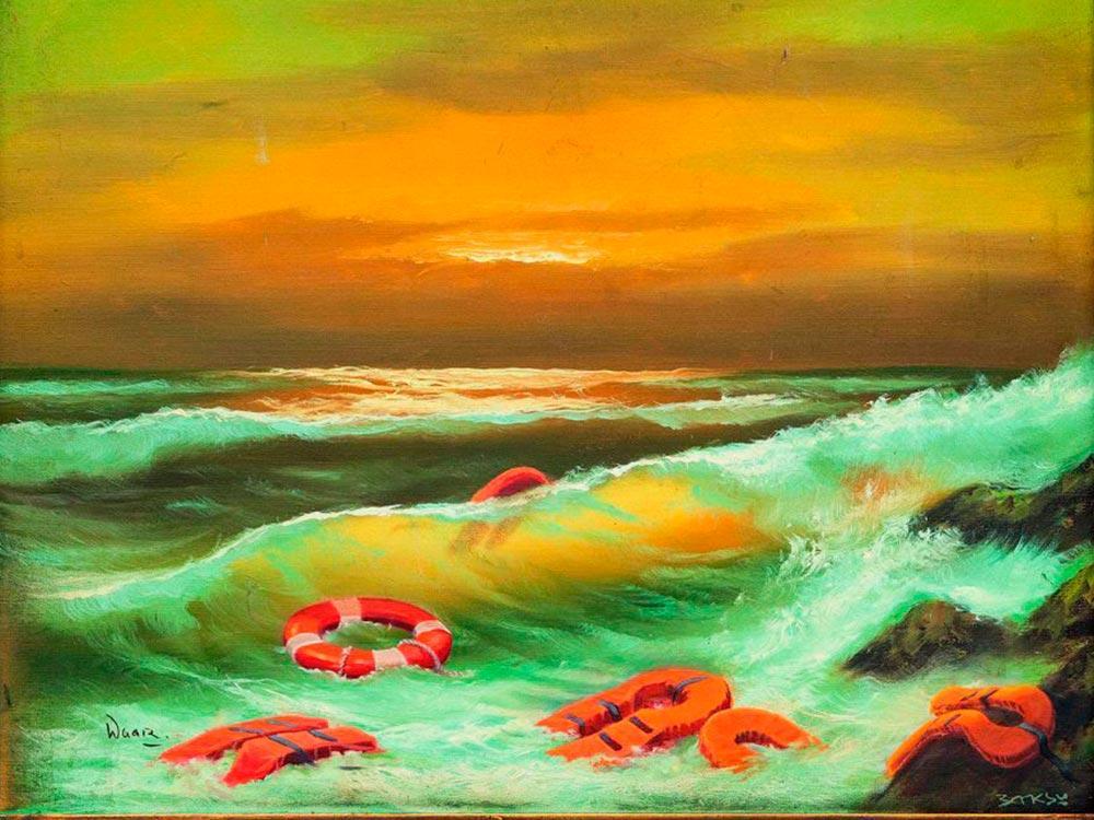 O artista aborda a migração no Mar Mediterrâneo, que faz milhares de vítimas