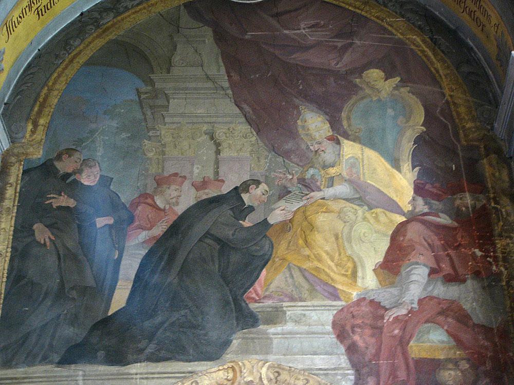 Afresco da aprovação do estatuto da Companhia de Jesus na Igreja de Nossa Senhora das Neves em Olomouc ( República Tcheca ), pintado por Jan Krystof Handke