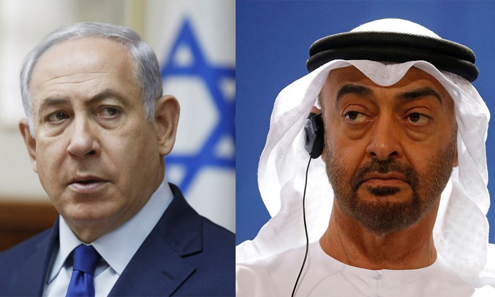 O primeiro-ministro israelense Benjamin Netanyahu (L) e o governante dos Emirados Árabes Unidos, o príncipe herdeiro de Abu Dhabi, Mohammed bin Zayed