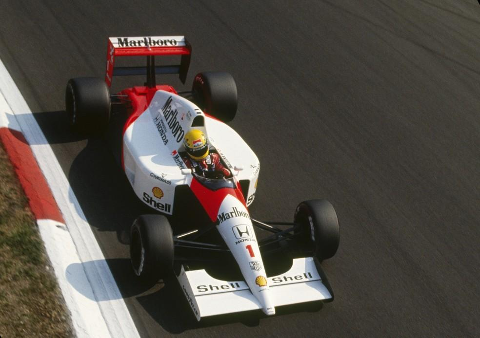 Ayrton Senna acelera McLaren-Honda em Monza, em 1991