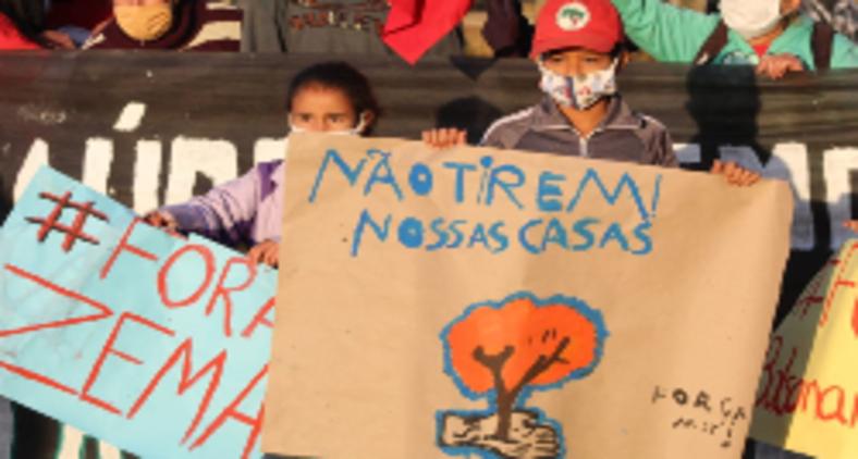 O acampamento Quilombo Campo Grande reúne 450 famílias sem-terra. A reintegração de posse foi emitida pela Justiça estadual mesmo sob decreto de calamidade pública (Gean Gomes-MST)