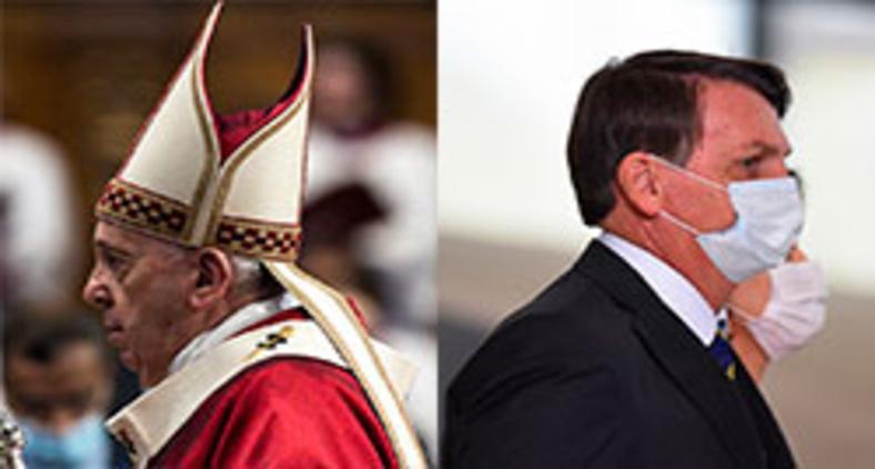 Papa Francisco e Bolsonaro são modelo antagônicos de liderança (Angelo Carconi/Pool/AFP - Andre Borges/NurPhoto/AFP)