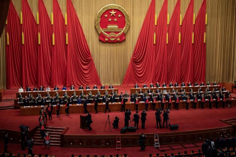 Líderes chineses durante cerimônia em homenagem aos profissionais da saúde em 8 de setembro de 2020 no Grande Salão do Povo em Pequim