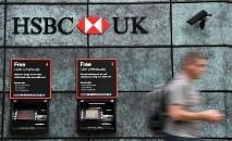 Fachada de um banco HSBC em Londres, em 3 de agosto de 2020 (DANIEL LEAL-OLIVAS/AFP)