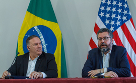 O motivo da viagem de Mike Pompeo foi pressionar o governo de Maduro e demonstrar o alinhamento dos EUA com os países vizinhos da Venezuela (Bruno Mancinelle/Pool/AFP)