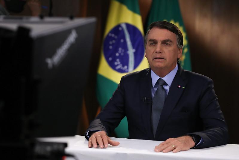 Bolsonaro durante gravação de discurso para a 75ª Assembleia Geral da ONU