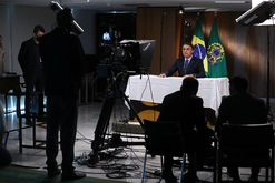 Bolsonaro durante gravação de discurso para a 75ª Assembleia Geral da ONU (Marcos Corrêa/PR)