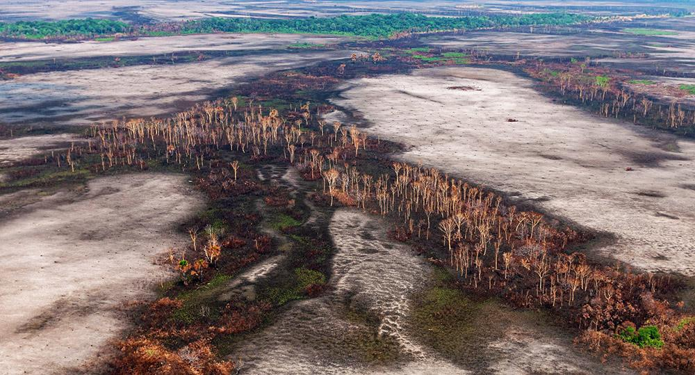 Fotos aéreas de cidades do Tocantins com áreas pegando fogo em 22 de setembro