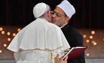 Francisco e o o grande imã de Al Aazhar, Ahmad al-Tayyeb (Vicenzo Pinto/AFP)