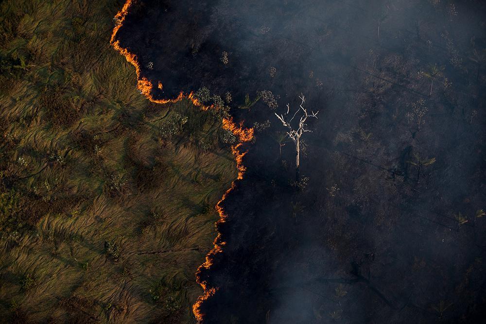 Queimada e vista em meio a área de floresta próxima a capital Porto Velho