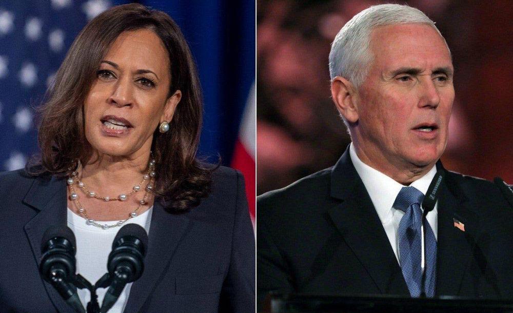 Os candidatos a vice: a democrata Kamala Harris e o republicano Mike Pence