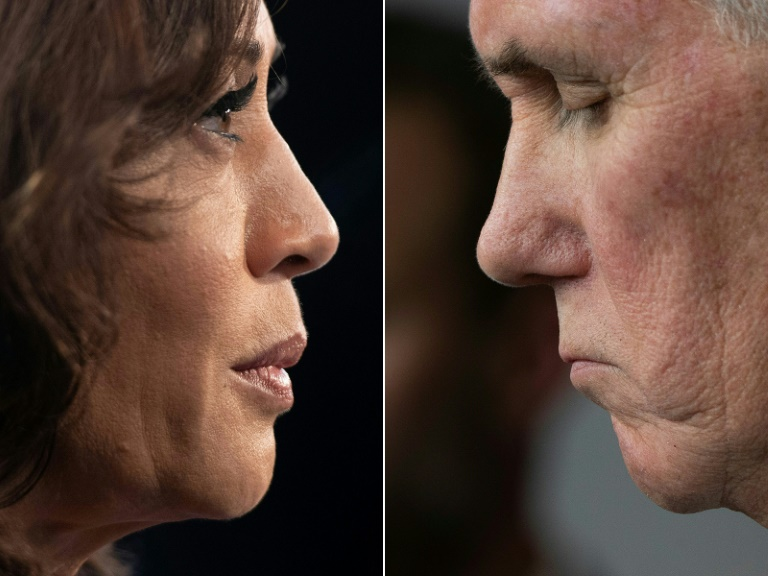 A candidata à vice-presidência Kamala Harris e o atual vice-presidente Mike Pence