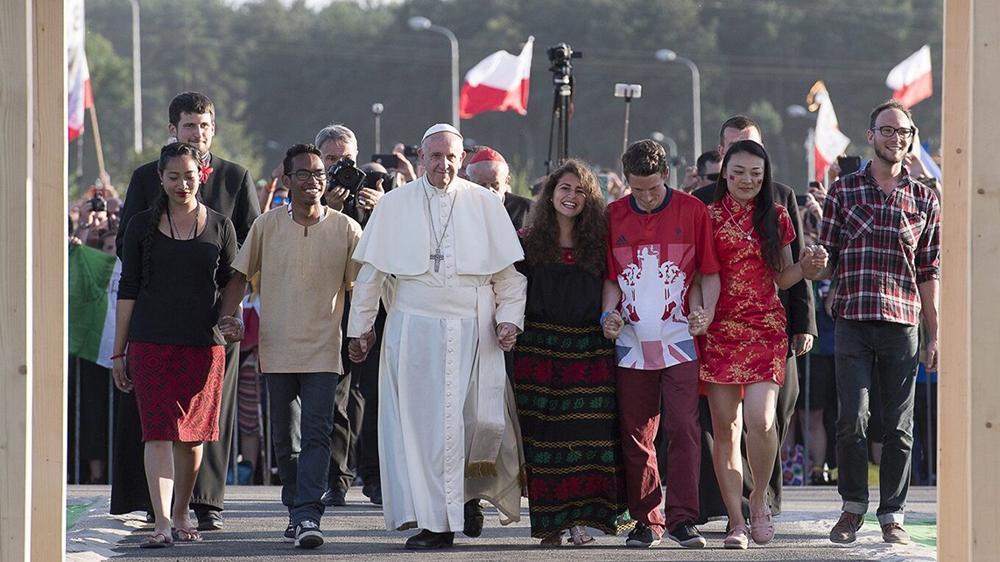 Papa com jovens na JMJ da Polônia em 2016