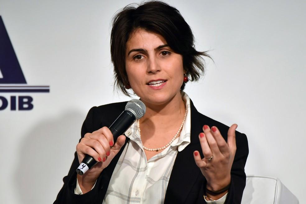 A representante da chapa do PT no evento, Manuela D'Ávila