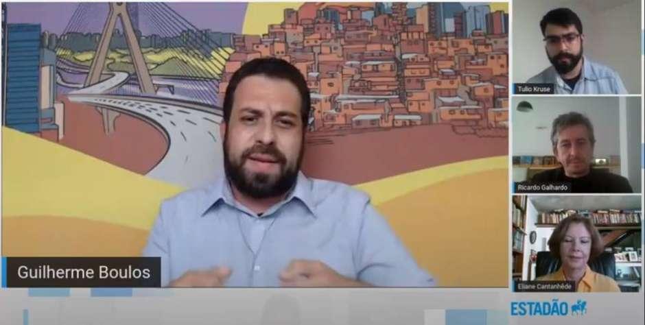 Guilherme Boulos, do PSOL, participa de sabatina do Estadão com os candidatos das eleições 2020 de São Paulo