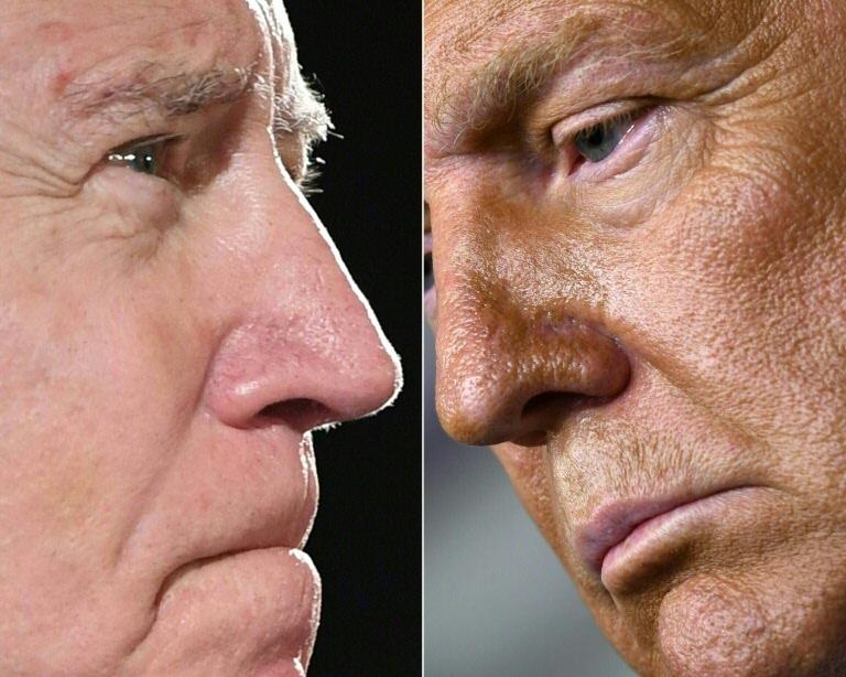 O candidato democrata Joe Biden (E) e o presidente Donald Trump
