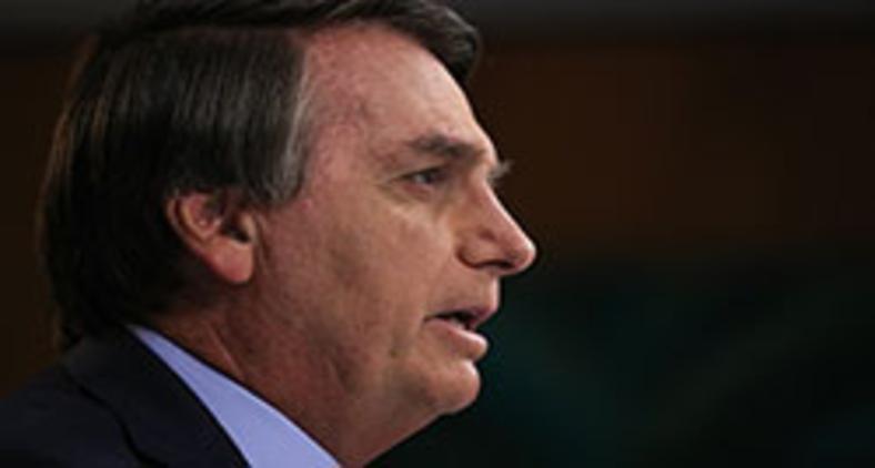Presidente da República Jair Bolsonaro, durante gravação de discurso para a 75ª Assembleia Geral da ONU, onde citou uma suposta cristofobia no Brasil (Marcos Corrêa/PR)