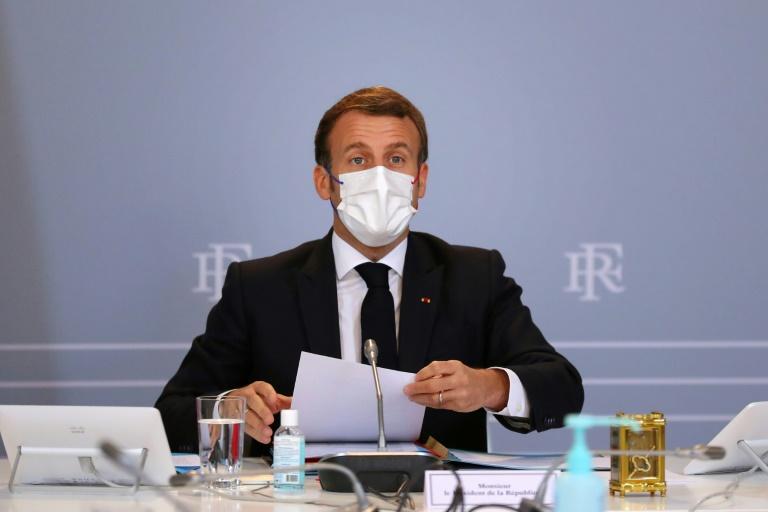 O presidente francês, Emmanuel Macron, durante conselho de Defesa em 12 de novembro de 2020