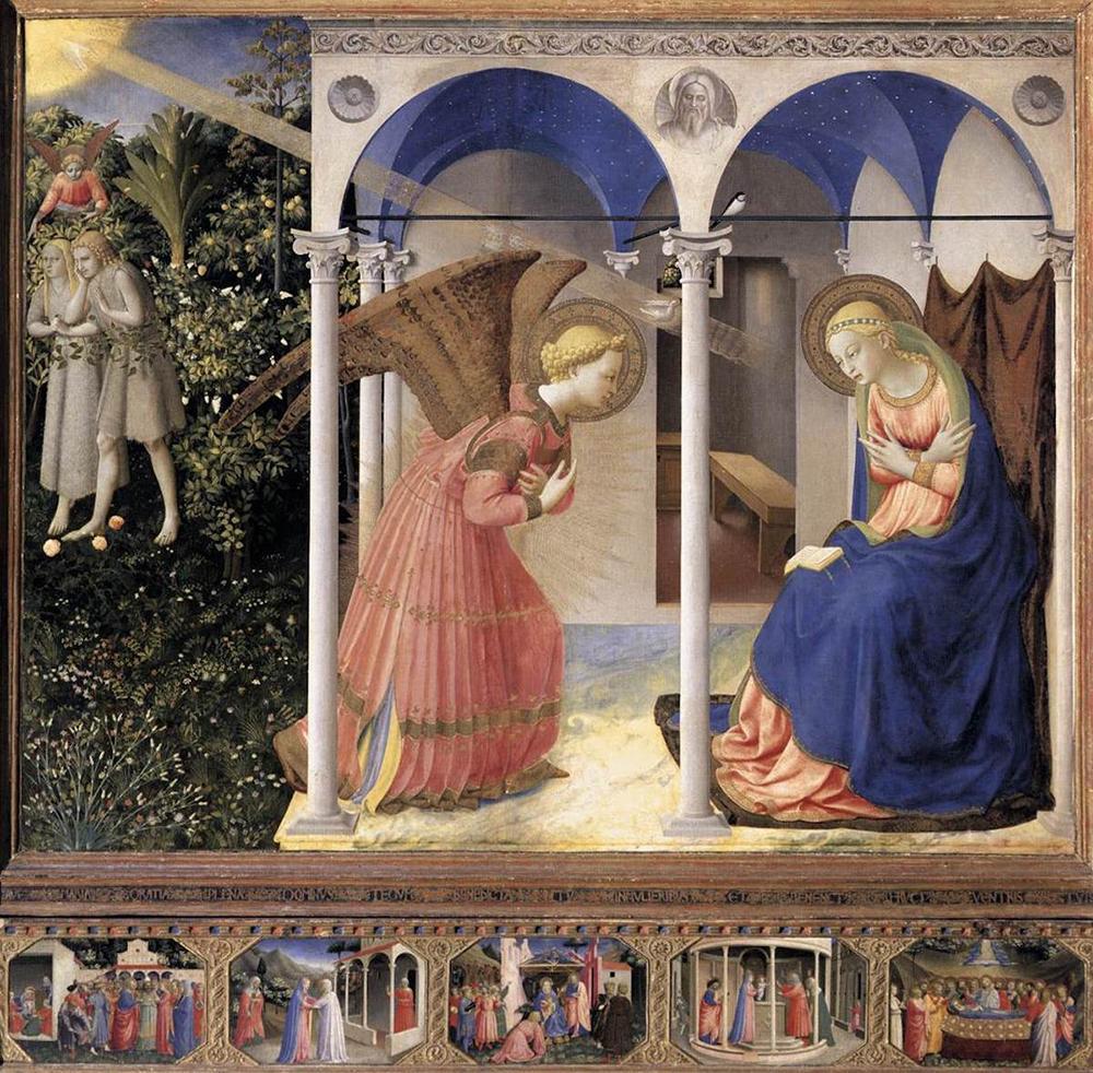 Maria com o livro no colo no quadro 'Anunciação', de Fra Angelico