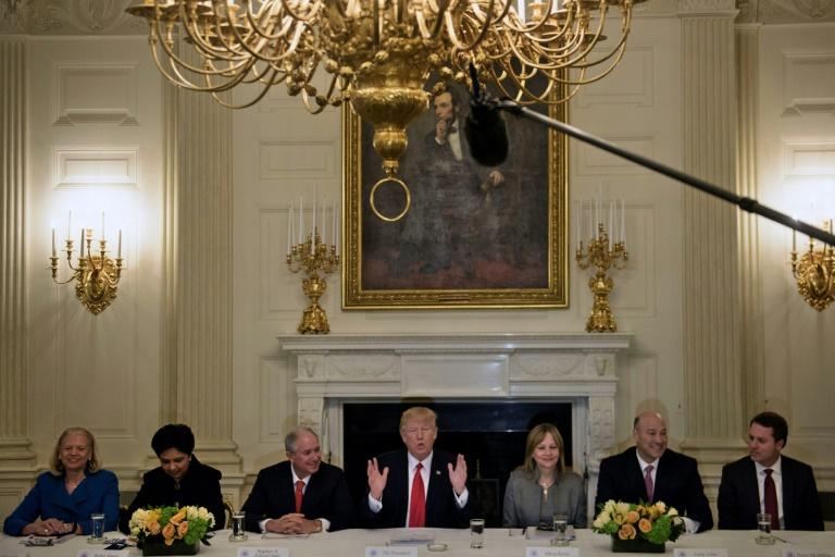 O CEO do grupo Blackstone, Steve Schwarzman (terceiro a partir da esquerda) e a CEO da General Motors, Mary Barra (a terceira a partir da direita) - vistos aqui ao lado do presidente Donald Trump em uma reunião na Casa Branca em 2017 - estão ansiosos para trabalhar com o governo de Joe Biden