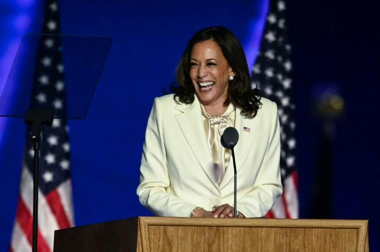 Vice-presidente eleita Kamala Harris pronuncia seu discurso de vitória em Wilmington, Delaware, em 7 de novembro de 2020