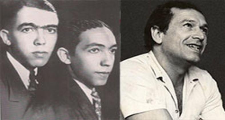 Rubem Braga (E) com seu irmão (C) e Fernando Sabino (D) (Wikimedia)
