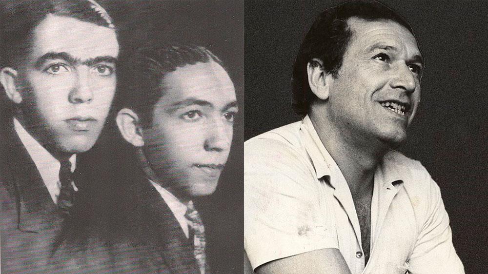 Rubem Braga (E) com seu irmão (C) e Fernando Sabino (D)