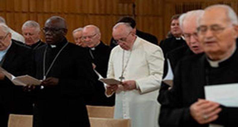 Papa Francisco durante seus exercícios espirituais de Quaresma, em 2019 (Vatican Media)