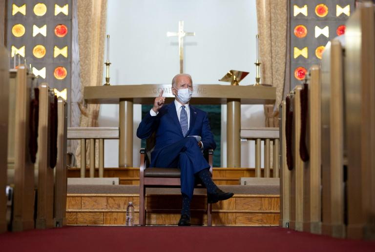 Joe Biden em uma igreja de Kenosha, Wisconsin