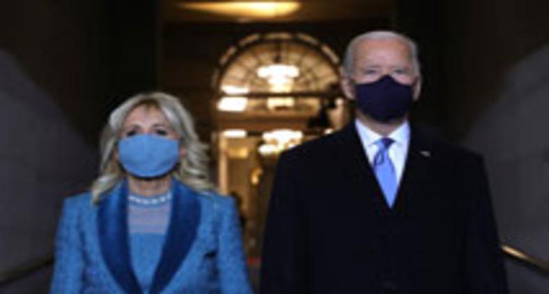 A primeira-dama Jill e o novo presidente dos EUA, Joe Biden (Will McNamee/Getty/AFP)