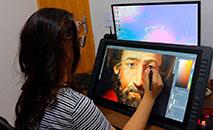 A artista Gyrleine Costa trabalhando na reconstrução do rosto do santo (Vatican Media/Arq. São Paulo)