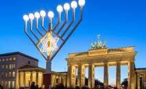 O chanucá, candelabro judeu, diante do Portão de Brandemburgo, em Berlim (Getty Images/AFP)