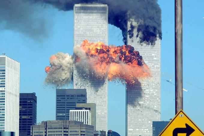 Torres Gêmeas no momento do atentado de 11 de Setembro