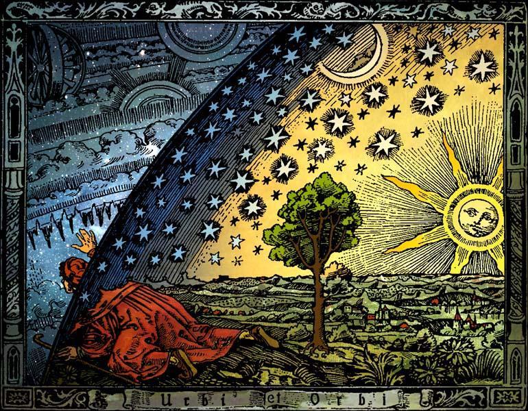 A gravura Flammarion (1888), representando um viajante que chegou ao limite de uma Terra plana e espreita através do firmamento