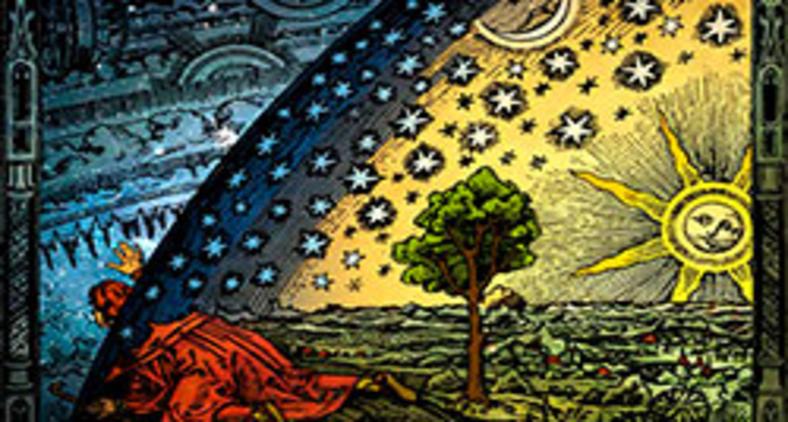 A gravura Flammarion (1888), representando um viajante que chegou ao limite de uma Terra plana e espreita através do firmamento (Heikenwaelder Hugo/Wikimedia)