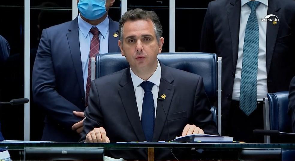 Senador Rodrigo Pacheco (DEM-MG) em primeiro discurso como presidente do Senado