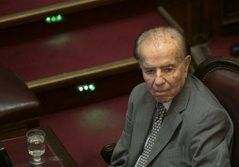 O ex-presidente argentino Carlos Menem, em 5 de fevereiro de 2020 no Congresso de Buenos Aires