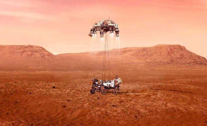 Imagem computadorizada do momento do pouso da sonda em solo marciano