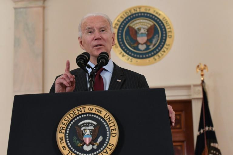 O presidente Joe Biden em discurso na Casa Branca, 22 de fevereiro de 2021