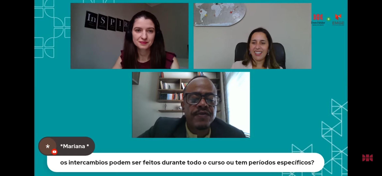 Professores Rogério Vieira, Aline Oliveira e Camila Martins respondem dúvidas dos estudantes