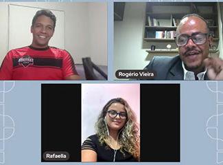 Professores Rogério Vieira, Aline Oliveira e Camila Martins respondem dúvidas dos estudantes (Necom Dom Helder e EMGE)